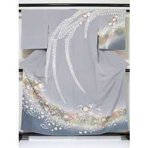 訪問着 辻ヶ花 糊こぼし ペールグレー 裾暈かし 158cm前後ベスト 超美品 お薦めです|kimono-maruichi