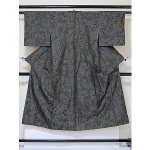 ●さらに!値引きしました40%OFF【リサイクル】《大島 横双》袷着物/唐花/142cm前後の方/深グリーン☆状態は大変良いおきものです|kimono-maruichi