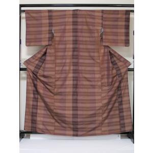 ●さらに!値引きしました40%OFF【正絹 縞大島】格子柄/松色 ブラウンパープル/163cm前後の方【美品】お薦めです|kimono-maruichi