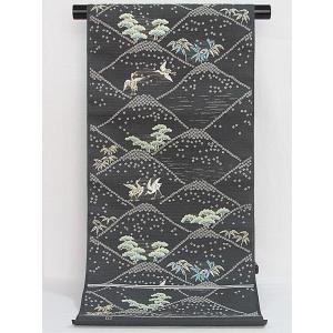 さらに値引きしました30%OFF 新品 川島織物 絽 織九寸名古屋帯 連山瑞小紋 夏帯 墨色 特選(お仕立付き)|kimono-maruichi|02