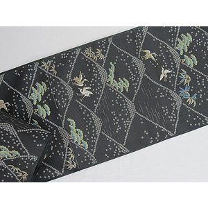 さらに値引きしました30%OFF 新品 川島織物 絽 織九寸名古屋帯 連山瑞小紋 夏帯 墨色 特選(お仕立付き)|kimono-maruichi|09