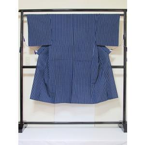 ●さらに!値引きしました20%OFF【美品】【男物】【浴衣】棒縞 大変キレイな状態です☆藍☆155cm|kimono-maruichi
