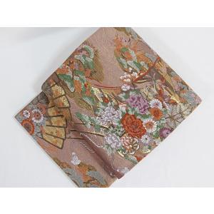 ●さらに!値下げしました20%OFF未使用【錦 袋帯】几張に檜扇 花車文/梅ねず 金/大変豪華な帯です【美品】お薦めです|kimono-maruichi