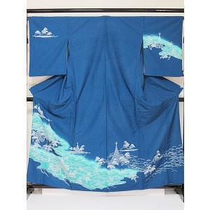 ●さらに!値下げしました20%OFF【附下げ 単衣 重ね襟付き】【踊り】洗えるキモノ/化繊 ポリ/松 波/ブルー ブルーグリーン★162cm前後ベスト【美品】|kimono-maruichi