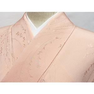 【小紋】袷 綸子 小花 薄イエローイッシュピンク☆152cm前後ベスト【美品】|kimono-maruichi