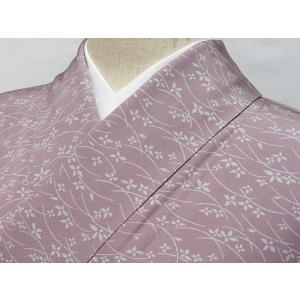 【小紋】袷 梨地 芝に小花 薄グレーイッシュパープル☆153cm前後ベスト【美品】|kimono-maruichi