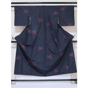 ●さらに!値引きしました40%OFF【正絹 紬】椿/藍地(濃紺)/152cm前後の方|kimono-maruichi