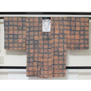 ●さらに!値引きしました40%OFF【道行 コート】マス目★ブルーグレー地 158cm前後の方【美品】 kimono-maruichi
