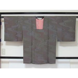 ●さらに!値引きしました30%OFF【道行 コート】綸子 流水 ポケット付き★グレーパープル他 155cm前後の方【美品】 kimono-maruichi