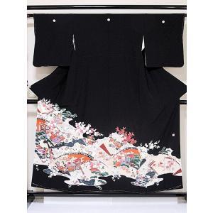 未使用 仕付 黒留袖 正絹一越 比翼(化繊) 落款 所車 牡丹吉祥花 154cm前後ベスト 美品|kimono-maruichi