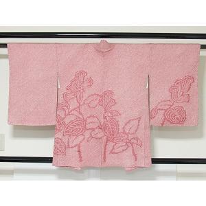 ●さらに!値引きしました40%OFF【絞り 羽織】【袷】花柄  ローズピンク☆羽織紐付き 150cm前後ベスト【美品】 kimono-maruichi
