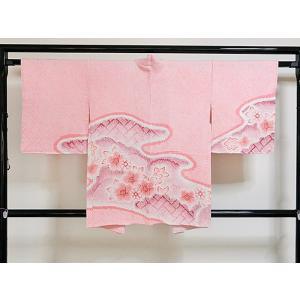 ●さらに!値引きしました40%OFF【絞り 羽織】【袷】ピンク地 霞取りに小花 【羽織紐付き】155cm前後ベスト kimono-maruichi