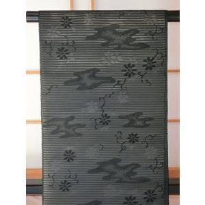 ●さらに!値引きしました40%OFF【新品 未仕立】●(絽)黒共名古屋帯【単・夏用】☆エ霞に菊☆西陣証紙1244 kimono-maruichi