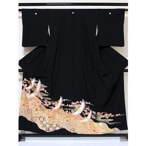 【黒留袖】 一越 正絹 比翼(化繊) 道長取りに吉祥柄 鶴に梅☆156cm前後の方ベストサイズ【美品】|kimono-maruichi
