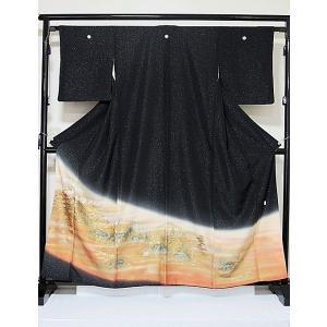 さらに値引きしました30%OFF 色留袖 正絹 落款 正絹比翼 5つ紋 金通し生地 京洛景 156cm前後ベスト 美品 kimono-maruichi