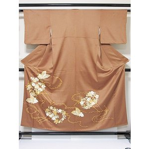 さらに値引きしました30%OFF 色留袖 正絹 共八掛 3つ紋(金糸縫い紋) 雲取りに花車 揚羽蝶 154cm前後ベスト 美品|kimono-maruichi