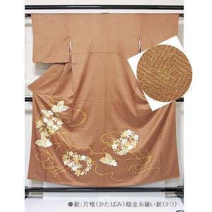 さらに値引きしました30%OFF 色留袖 正絹 共八掛 3つ紋(金糸縫い紋) 雲取りに花車 揚羽蝶 154cm前後ベスト 美品|kimono-maruichi|02
