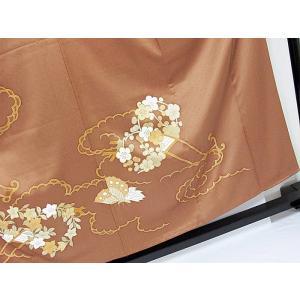 さらに値引きしました30%OFF 色留袖 正絹 共八掛 3つ紋(金糸縫い紋) 雲取りに花車 揚羽蝶 154cm前後ベスト 美品|kimono-maruichi|04