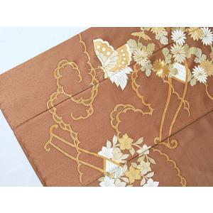 さらに値引きしました30%OFF 色留袖 正絹 共八掛 3つ紋(金糸縫い紋) 雲取りに花車 揚羽蝶 154cm前後ベスト 美品|kimono-maruichi|07