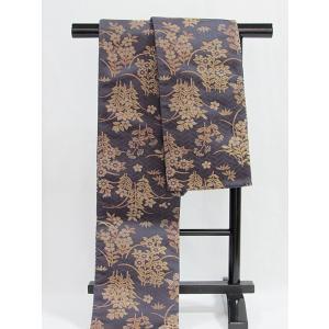 未使用【小袋帯】正絹 半巾 リバーシブル 万葉/グレーイッシュバイオレット【超美品】|kimono-maruichi