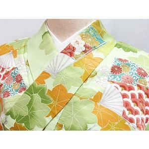 ●さらに!値引きしました40%OFF洗える化繊【小紋袷着物】扇面 楓 梅/150cm前後の方ベスト★ペールグリーン|kimono-maruichi