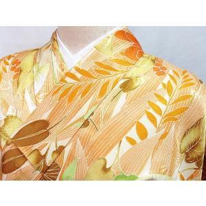 ●さらに!値引きしました40%OFF洗える化繊  【小紋袷着物】洋花/158cm前後の方ベスト★オレンジ系|kimono-maruichi