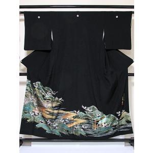【特選】【黒留袖】正絹比翼/伝統金彩工芸師「唐渡建」作/安芸宮島/落款入り☆153cm前後の方ベストサイズ【超美品】お薦めです|kimono-maruichi