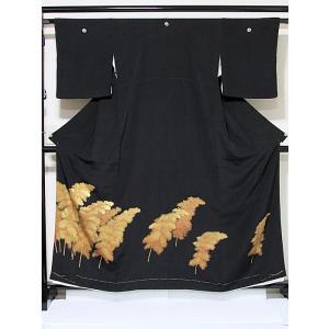 【黒留袖】正絹 比翼 一越 竹林☆160cm前後の方ベストサイズ【美品】|kimono-maruichi