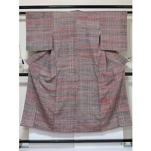 ●さらに!値引きしました30%OFF未使用 仕付けアリ【正絹 紬】じゃじゃ織/朱茶他/145cm前後の方【超美品】お薦めです|kimono-maruichi