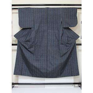 ●さらに!値引きしました40%OFF【正絹 紬】滝縞/紺/広衿/147cm前後の方【美品】|kimono-maruichi