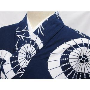 ●さらに!値引きしました40%OFF【浴衣】柳に和傘/藍 白☆148cmベスト/リサイクル/中古|kimono-maruichi