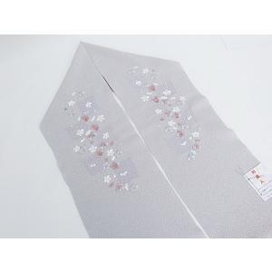 【洗える 刺繍 半えり】刺繍半衿 衿美人 ポリエステル/グレー梅【新品】メール便可|kimono-maruichi