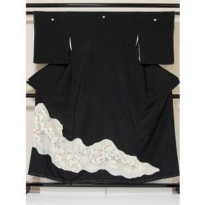 【未使用 仕付け】【黒留袖】正絹比翼 道長取りに菊☆154cm前後の方ベストサイズ【訳アリ】|kimono-maruichi