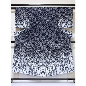 ●さらに!値引きしました20%OFF【浴衣】エバ浴衣 青海波/藍 白 暈し☆152cmベスト/リサイクル/中古|kimono-maruichi