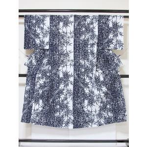 ●さらに!値引きしました20%OFF【浴衣】竹笹/藍 白☆143cmベスト/リサイクル/中古【美品】|kimono-maruichi