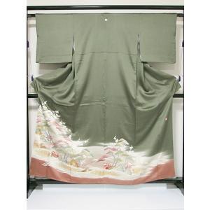 【色留袖】共八掛 正絹 紋綸子 1つ紋 落款入り/波に鴛鴦 松竹梅 深緑暈し☆158cm前後の方ベスト【美品】|kimono-maruichi