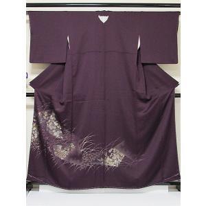 色留袖 未使用 寿光織 正絹 紋綸子 1つ紋 露芝に裂取り 松 菊 吉祥花 ダークパープル 160cm前後ベスト 超美品 お薦めです|kimono-maruichi