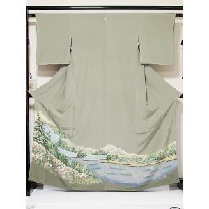 色留袖 未使用 京加賀 共八掛 正絹 一越 1つ紋 落款入り 風景絵図 利休白茶 165cm前後ベスト 美品 お薦めです|kimono-maruichi
