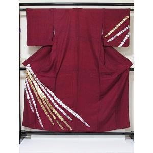 洗えるキモノ 附下げ 単衣 藤 金 白 斜段取り☆155cm前後ベスト/踊り 舞台 ステージ イベント|kimono-maruichi
