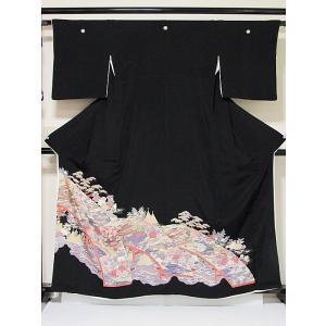 【黒留袖】正絹 比翼 一越 牡丹に太鼓橋 松に船☆161cm前後の方ベストサイズ|kimono-maruichi