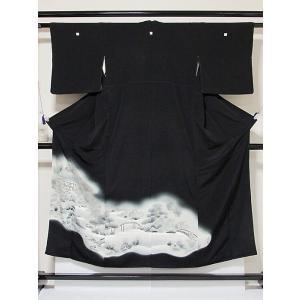 【黒留袖】正絹 一越 比翼なし バチ衿 三宝院絵図☆151cm前後の方ベストサイズ|kimono-maruichi