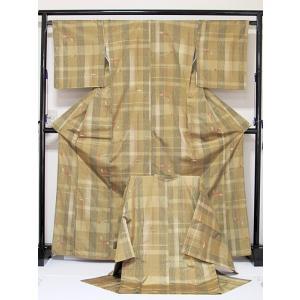 ●さらに!値下げしました20%OFF【正絹 紬】 コート きものアンサンブル/結び紐 玉簪/イエローイッシュブラウン/168cm前後の方【美品】|kimono-maruichi