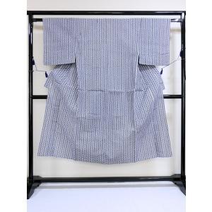 【美品】【男物】【浴衣】綿 輪違い柄 大変キレイな状態です★白/藍|kimono-maruichi