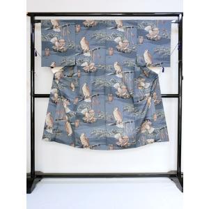 【男性用 長襦袢】【モスリン】じゅばん/ブルーグレー/鷹(たか)|kimono-maruichi