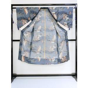 【男性用 長襦袢】【モスリン】じゅばん/ブルーグレー/鷹(たか)|kimono-maruichi|04