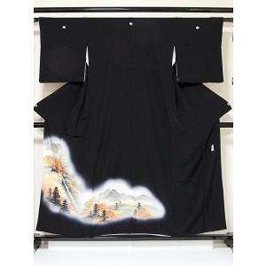 【黒留袖】正絹一越 比翼(化繊) 落款入り 山水絵図☆153cm前後の方ベストサイズ【美品】|kimono-maruichi