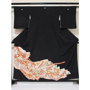 【黒留袖】正絹 比翼 一越 鳳凰に菊他吉祥柄☆159cm前後の方ベストサイズ【美品】|kimono-maruichi
