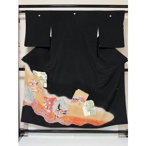 【黒留袖】正絹 比翼 一越 落款入り 刺繍 道長に色紙散し 平安のお姫様に松竹梅☆152cm前後の方ベストサイズ【美品】|kimono-maruichi