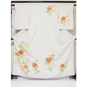 【未使用 仕付け】【附下げ】袷着物 一越 菊 刺繍/164cm前後ベスト★灰白(白)【美品】お薦めです|kimono-maruichi