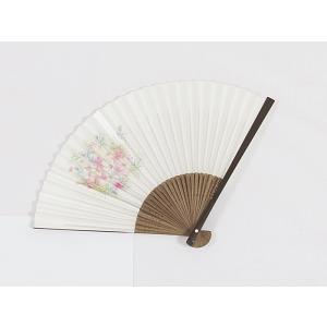 【アウトレット 展示品】京扇子 松寿扇/コスモス☆パールホワイト|kimono-maruichi